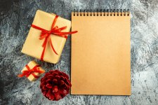 top-view-small-gift-tied-with-red-ribbon-notebook-colored-pinecone-grey-surface.jpg